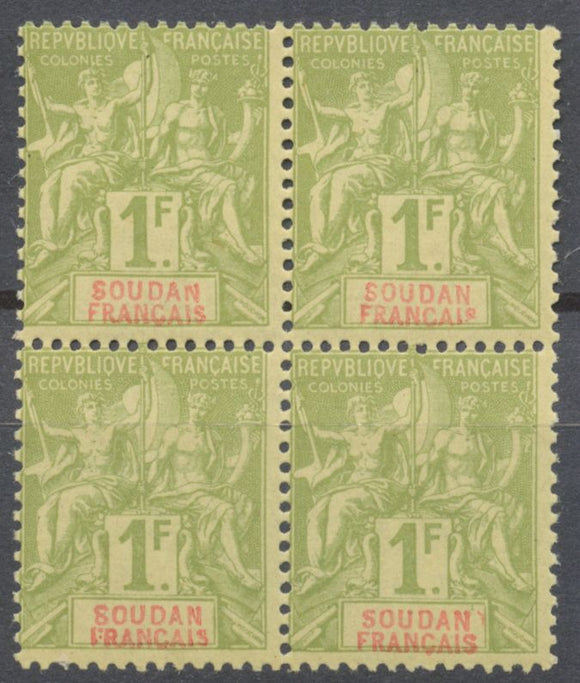 COLONIE SOUDAN Fs Superbe Bloc de 4 N°15 1f olive Neuf Luxe ** Extra N2113