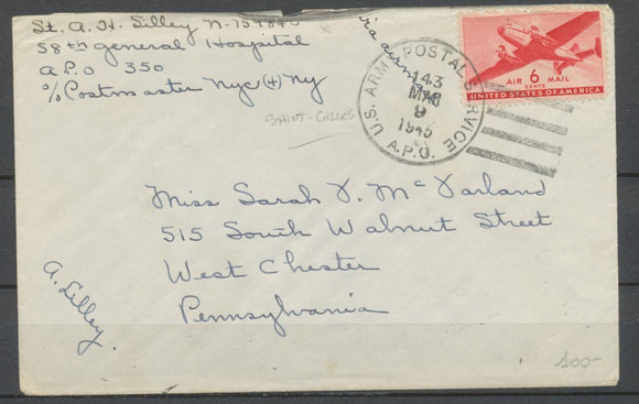 1945 env. US ARMY POSTAL A.P.O. N°350 de Saint Gilles à West Chester P1865
