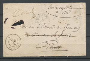 5/08/1870 Enveloppe En franchise ESCADRE EXPEDITIONNAIRE DU NORD RARE P2330