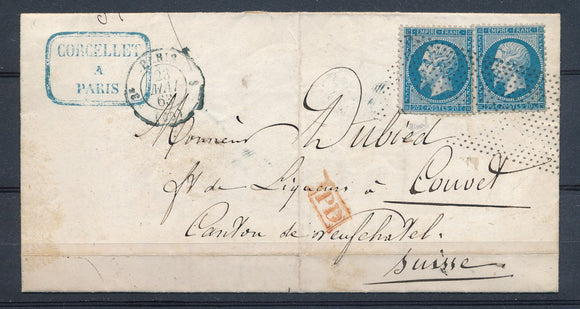 1863 Lettre 40c 2N°22 obl roulette de points + PD Rge PARIS(60) P2676