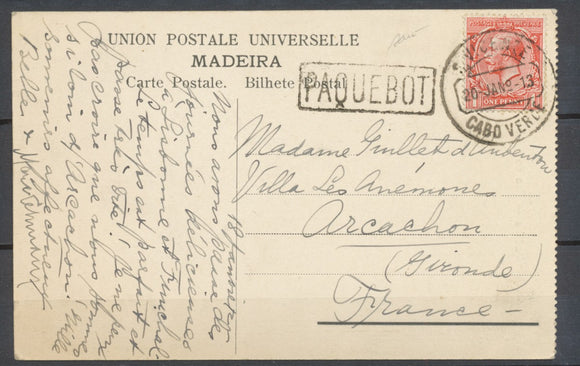 1913 Postcard Great Britain 1P rouge Obl VICENZE/CABO VERD + PAQUEBOT SUP. P3971