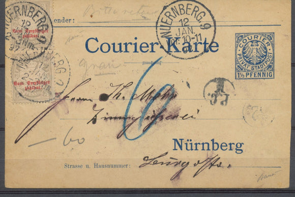 1897 Germany Karte 1 1/2 Pfennig + 2*3p Cancelled NUERBERG SCARCE. P3973