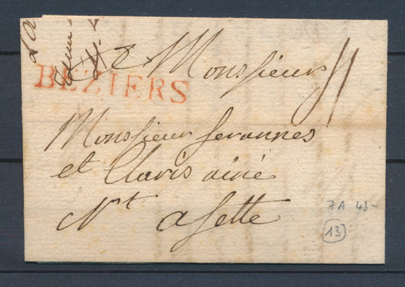 1783 Lettre Marque Lenain N°7A BEZIERS Rouge HERAULT(33) SUP. P4041