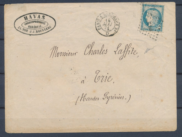 1871 18 Mai Commune de Paris Env. Havas obl PB2 CAD Paris Bordeaux RARE X1002