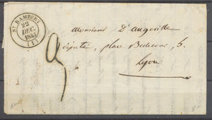 1843 Lettre Cachet St Rambert Type 14 + Taxe Locale 3 Rare AIN(1) X1301