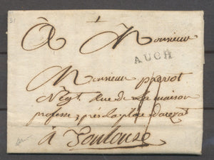 1785 Lettre Marque Tampon Auch GERS(31). Superbe X1315