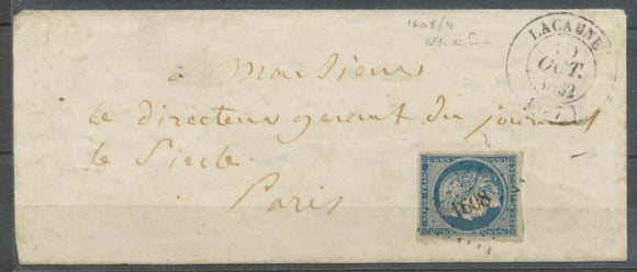 1852 Lettre N°4 Obl PC1608 Lacaune CAD T14. TARN(77). Indice 17. X1725