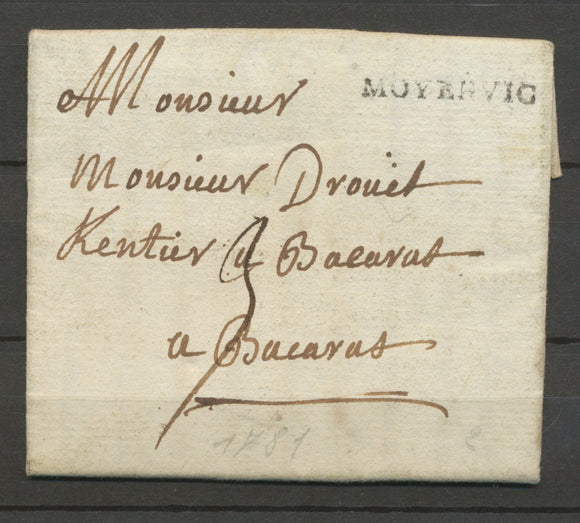 1781 Lettre Marque Tampon Moyenvic MEURTHE(52) Indice 20 X2270