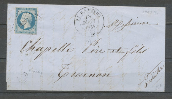 1854 Lettre Petit Chiffre St Rambert PC.3257 + CAD Type 14 AIN(1). TB. X2430