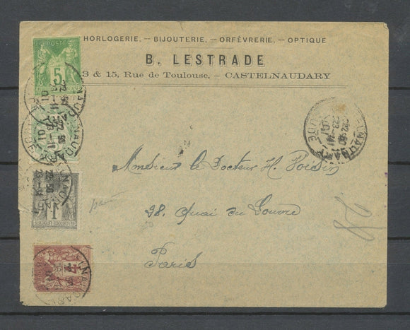 1901 Env. Sage 1c IMPRESSION RECTO-VERSO et COLLE SUR LE RECTO, SUP X4761