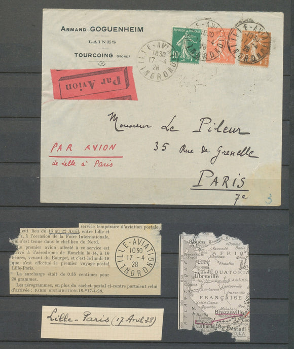 1928 Env. Lille/Aviation obl 3 Semeuses 17.4.19+28, rare, Superbe X4846