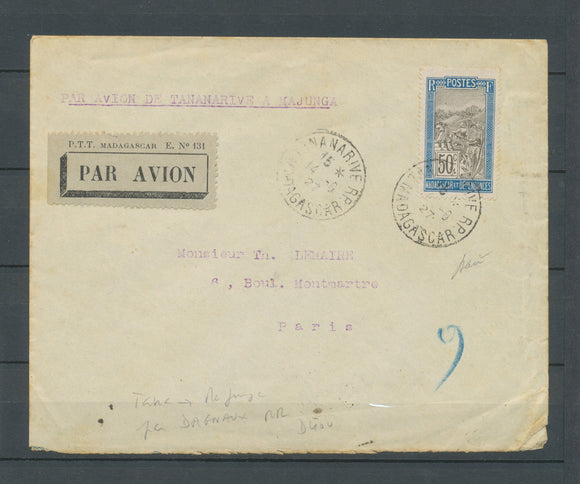 1927 Env. TANANARIVE-MAJUNGA par Dagnaux, 50c obl 14.6.27, Paris 9.7.27 X4936