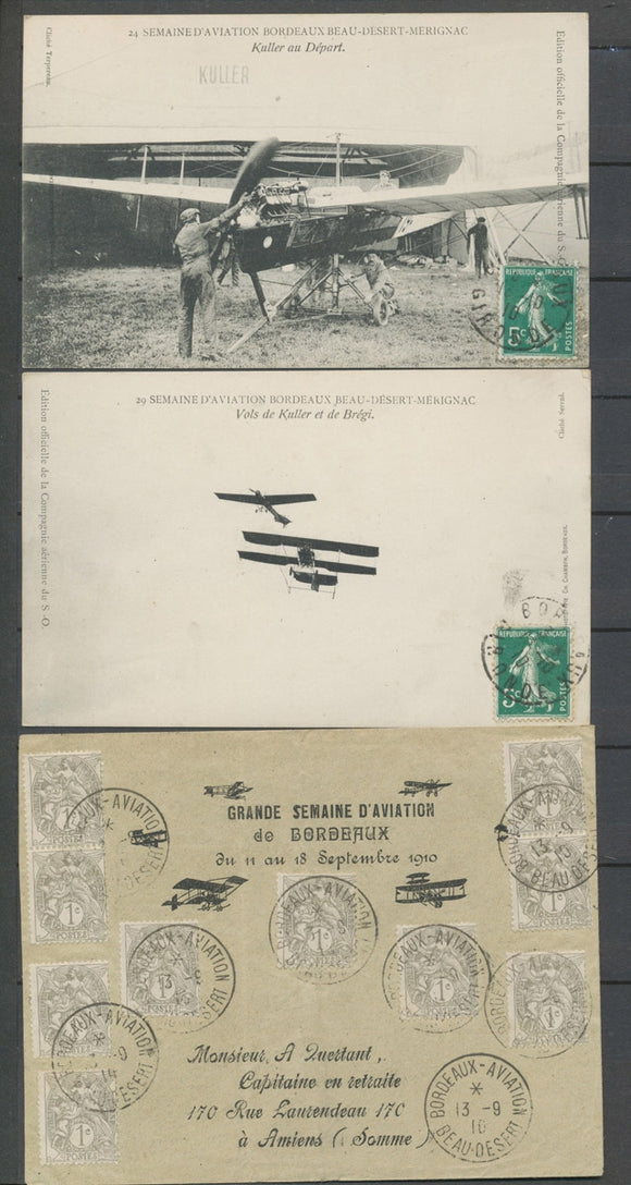 1910 Env. BORDEAUX-AVIATION/BEAU-DESERT càd rare 1c blanc x 10, RR,  SUP X5162