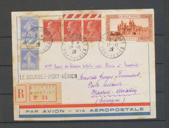 1929 Env. PARIS-MADRID 1er transport total du courrier par avion, Rare, TB X5174