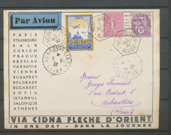 1932 Env. VICHY-AVIATION, càd hexagonal obl 2 timbres + vignette ND, SUP X5180