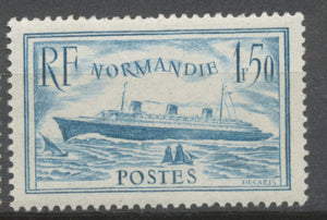 "Paquebot ""Normandie"" 1f.50 bleu clair Neuf luxe ** Y300"