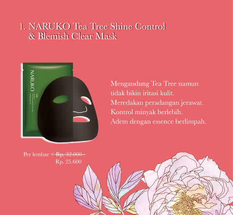 NARUKO Tea Tree Shine Control & Blemish Clear Mask - tea tree - beningbersinar
