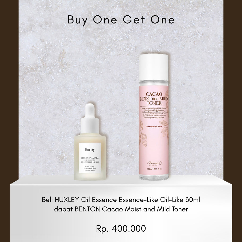 Buy One Get One (Beli Huxley Oil Essence Essence-Like Oil-Like dapat Benton Cacao Moist and Mild Toner)