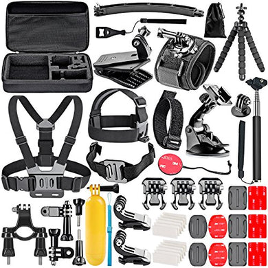 Neewer 50-In-1 Kit di Accessori per Action Camera Compatibile con GoPro Hero 8 Max 7 6 5 4 Black GoPro 2018 Session Fusion Argento Bianco Insta360 DJI AKASO APEMAN Campark SJCAM Action Camera