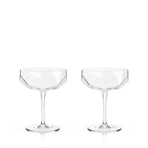 Raye: Faceted Crystal Coupe (Set of 2)