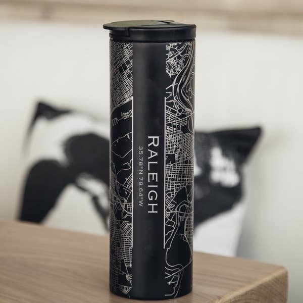 Raleigh City Map Tumbler in Matte Black
