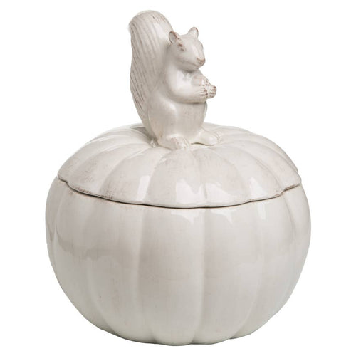 Dolomite Harvest Squirrel and Pumpkin Container