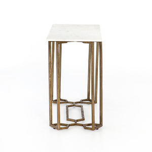 NAOMI MARBLE CONSOLE TABLE-RAW BRASS