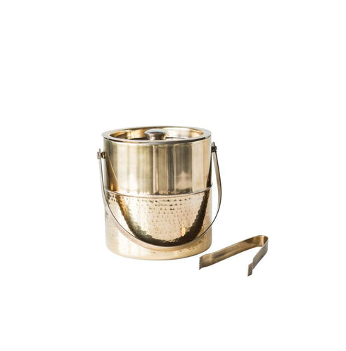 Ice Bucket w/ Tongs, Brass Finish
