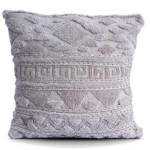 Greek Key Tufted Cotton Pillow