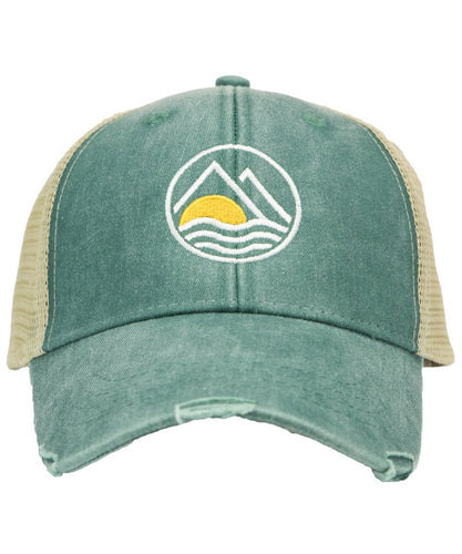 Mountains to Sea Distressed Trucket Hat