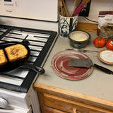cooking with a pottery plate and pottery bowl
