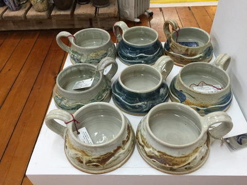 hand made pottery soup mugs