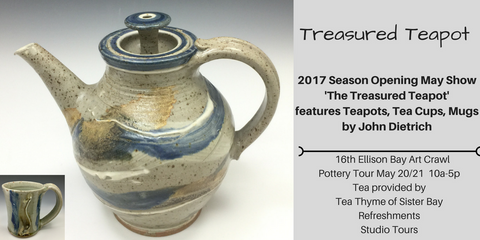 invitation to pottery teapot show in door county