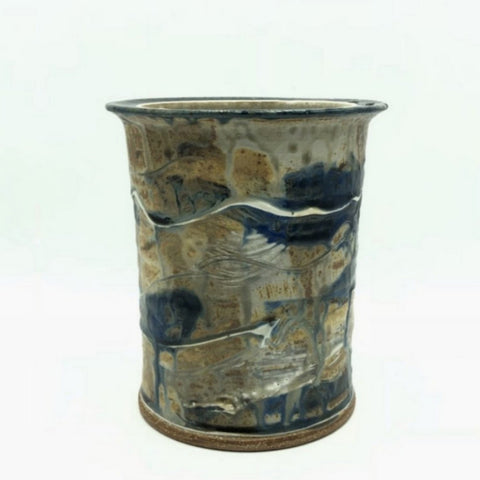 Handthrown Pottery Crock (M): Death's Door Blue