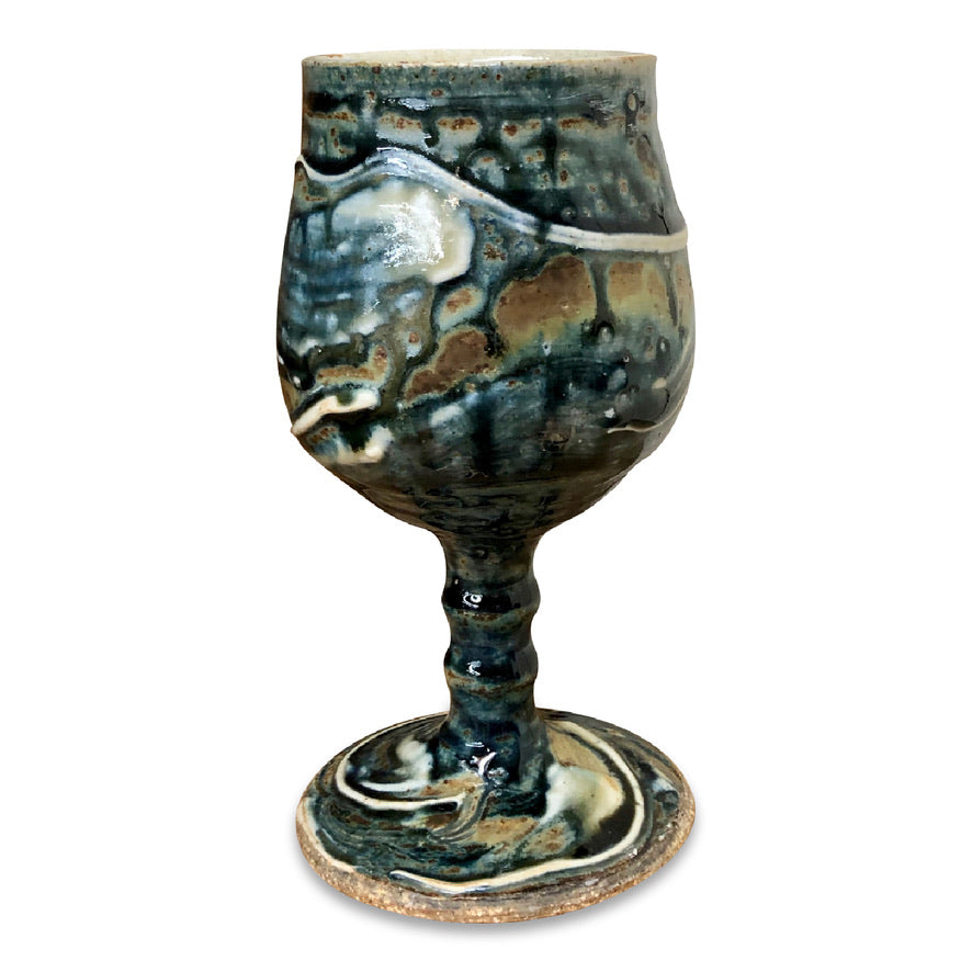 Handmade Pottery Goblet - Lake Superior Blue
