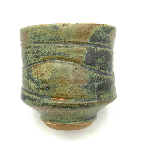 Handthrown Pottery Tea Bowl: Door County Lichen Green