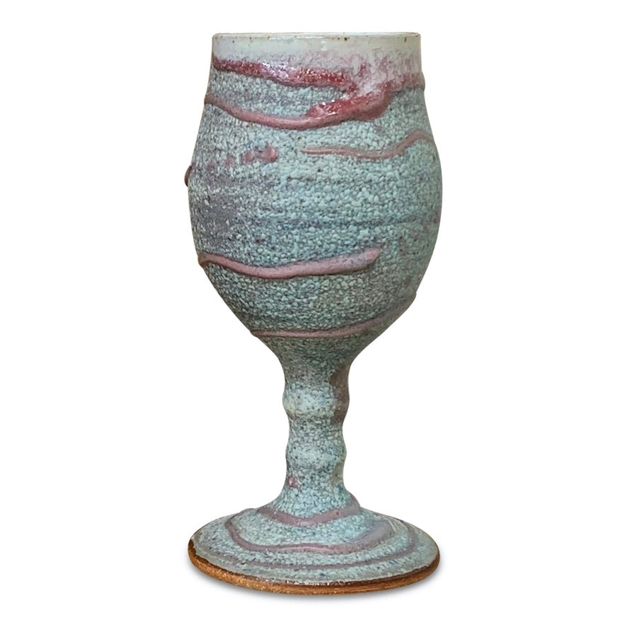Handmade Pottery Goblet - Little Sister Blue