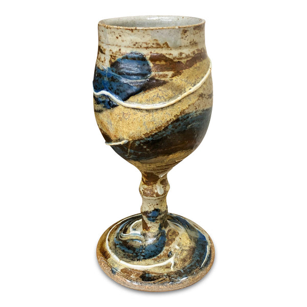 Handmade Pottery Goblet -Door County Autumn Blue
