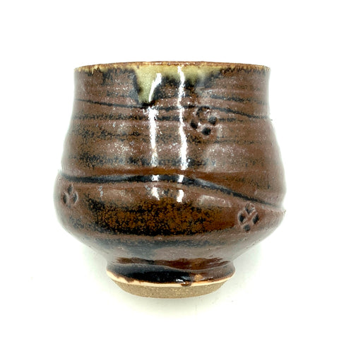 Handthrown Pottery Tea Bowl: Door County Oak Brown