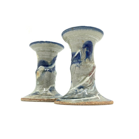 Handmade Pottery Tall Candleholders - The Blues