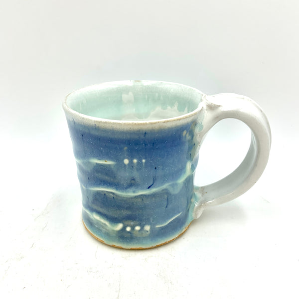 Handmade Pottery Short Mug - Snowy Lake Blue