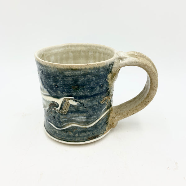 Handmade Pottery Short Mug  - Lake Superior Blue