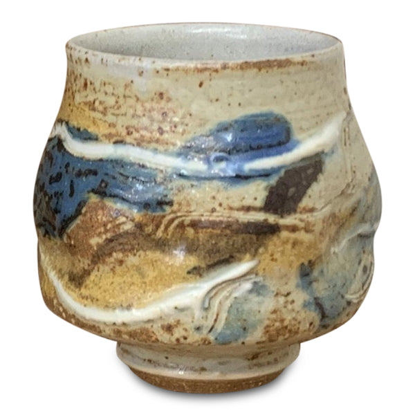 Handthrown Pottery Tea Bowl: Door County Autumn Blue