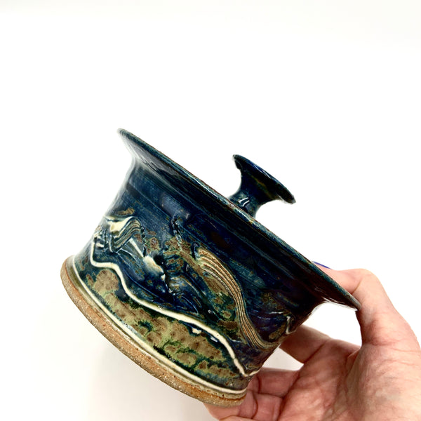 Handmade Pottery Small Baking Dish - Lake Superior Blue