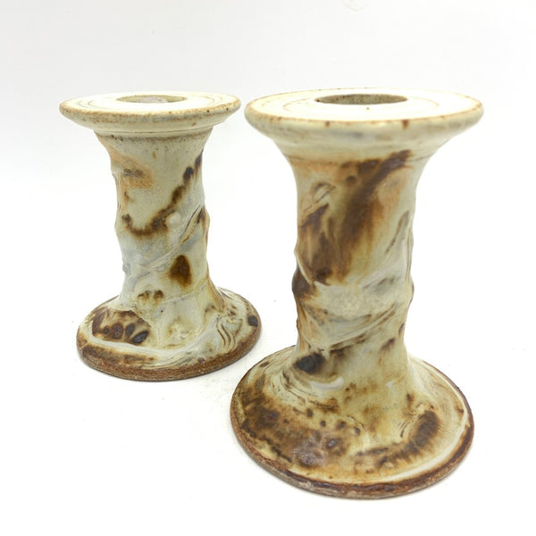 Handmade Pottery Tall Brown Candleholders