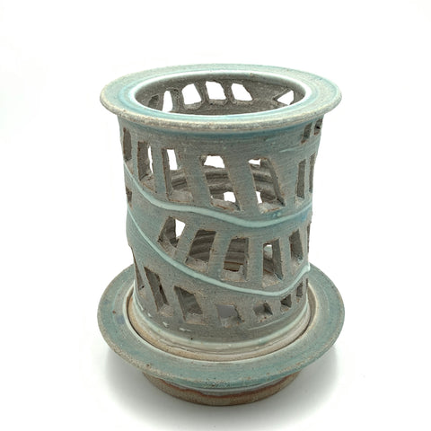 Handmade Pottery Window Lantern Little Sister Blue