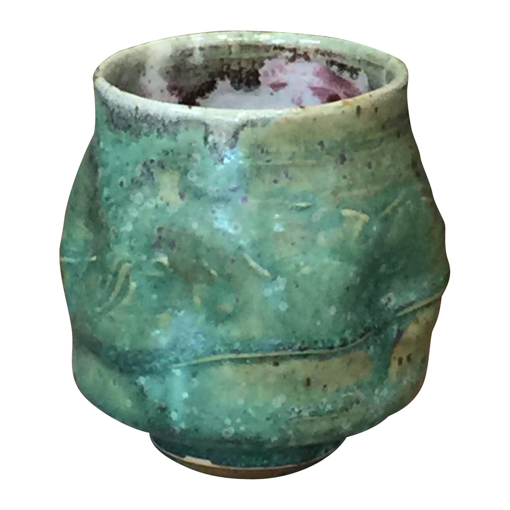 Handthrown Pottery Tea Bowl: Door County Spring Green