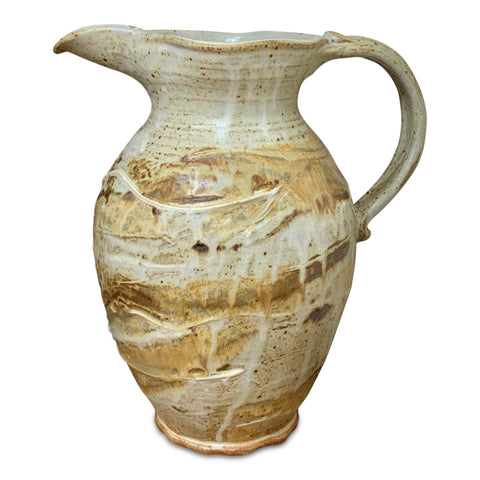 Handmade Pottery Pitcher (XL): Door County Beaches
