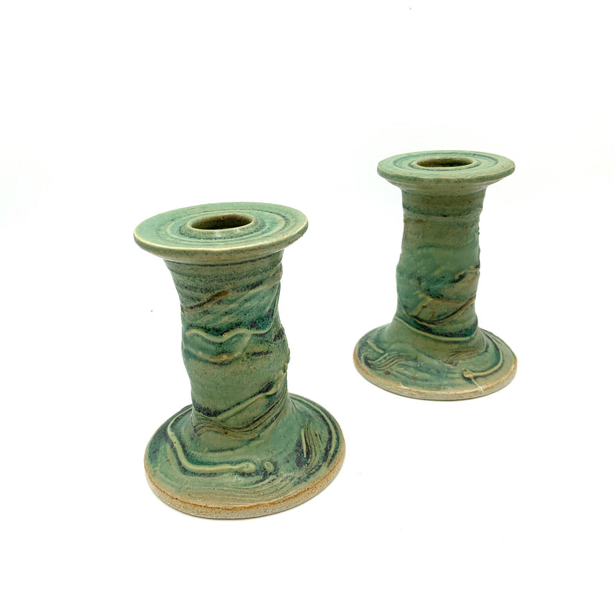 Handmade Pottery Tall lCandleholders - The Greens