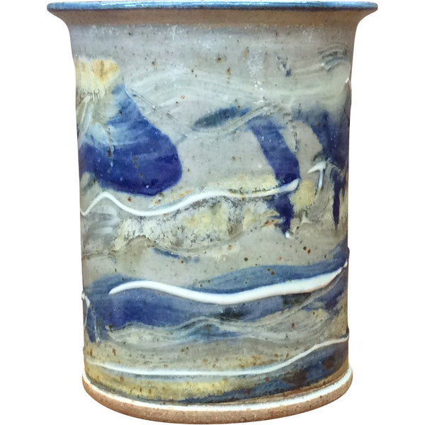 Handmade Pottery Blue and Gray Tall Crock